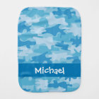 Blue Camo Camouflage Name Personalized Burp Cloth