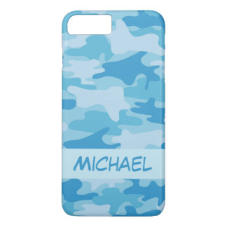 Blue Camo Camouflage Name Personalized iPhone 8 Plus/7 Plus Case
