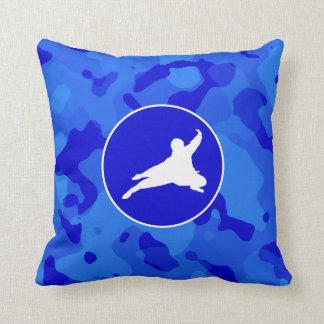 Blue Camo; Camouflage Ninja Throw Pillow