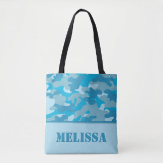 Blue Camo (Camouflage) | Personalized Tote Bag