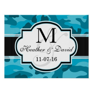 Blue Camo, Camouflage Wedding Poster