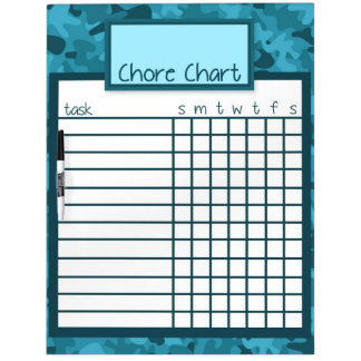 Blue Camo Chore Chart Dry Erase Board