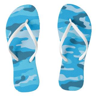 Blue Camo Flip flops, camouflage shoes Flip Flops