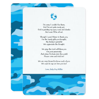 Blue Camo girl poem baby shower thank you note Card