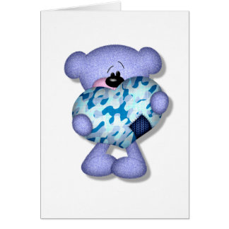 blue camo heart bear card