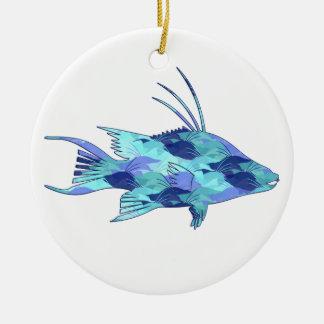 Blue Camo Hogfish Ceramic Ornament
