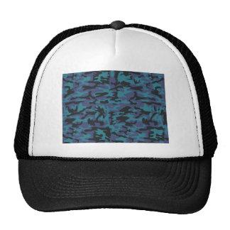 Blue camo pattern trucker hat