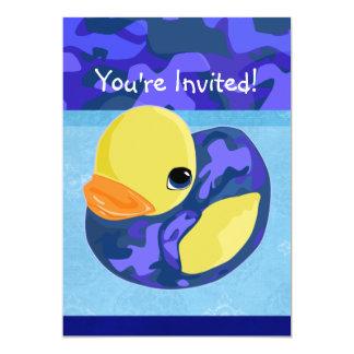 """Blue Camo Rubber Ducky 5"""" X 7"""" Invitation Card"""