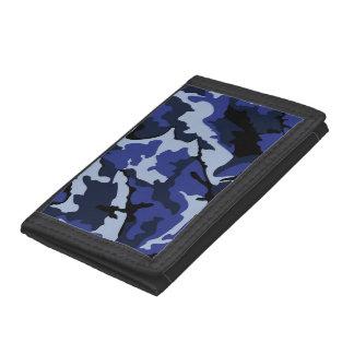 Blue Camo, TriFold Nylon Wallet