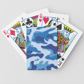 Blue Camouflage Bicycle Playing Cards