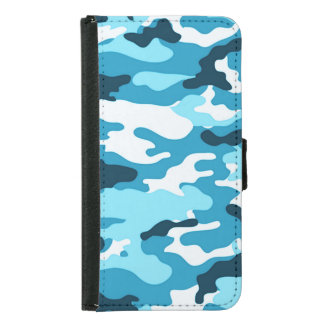 Blue camouflage Galaxy S6 Wallet Case