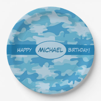 Blue Camouflage Happy Birthday Name Personalized Paper Plate