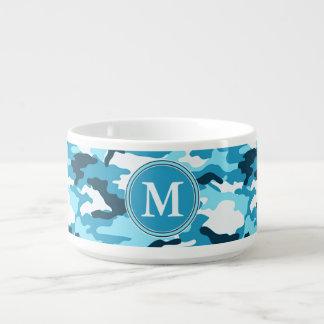 Blue Camouflage Pattern Initial Monogram Bowl