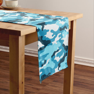 Blue Camouflage Pattern Short Table Runner