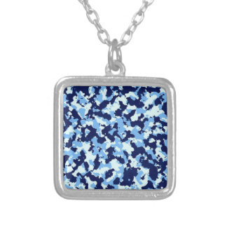 Blue Camouflage Silver Plated Necklace