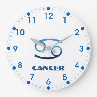 Blue Cancer Zodiac Sign On White Large Clock
