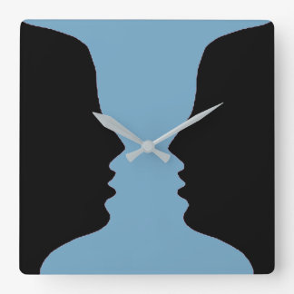 Blue Candle Stick Womans Face Figure-Ground Photo Square Wall Clock