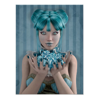 Blue Candy Girl Poster