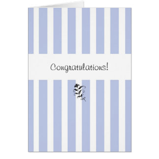 Blue Candy Stripes Congratulations Card