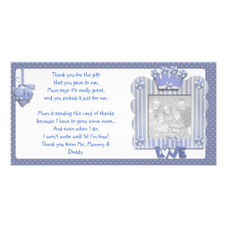 Blue candystripe frame Thank You Card from baby Photo Cards