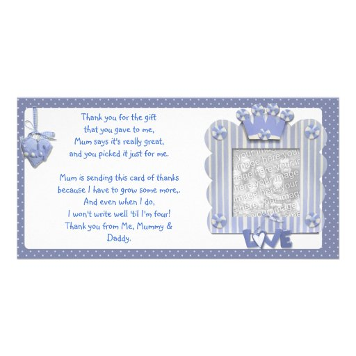Blue candystripe frame Thank You Card from baby Photo Card Template