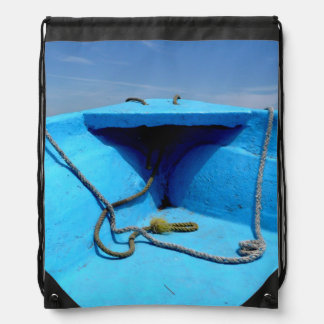 Blue Canoe with Rope Drawstring Bag