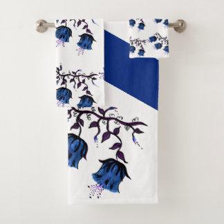 Blue Canterbury Bells on Vine Flowers Bath Set