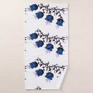 Blue Canterbury Bells on Vine Flowers Bath Towel