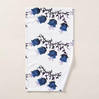 Blue Canterbury Bells on Vine Flowers Hand Towel