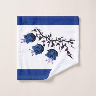 Blue Canterbury Bells on Vine Flowers Wash Cloth