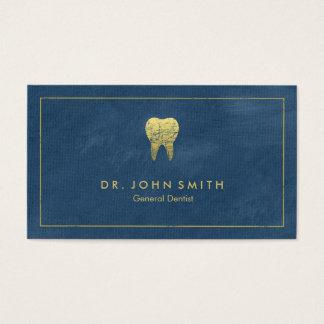 Blue Canvas Golden Frame & Tooth -  Dentist Business Card