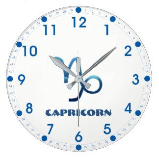 Blue Capricorn Zodiac Sign Large Clock
