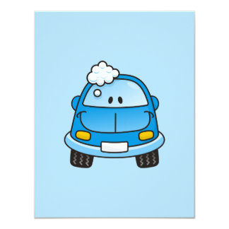 "Blue car with bubbles 4.25"" x 5.5"" invitation card"