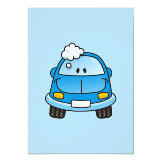 "Blue car with bubbles 4.5"" x 6.25"" invitation card"