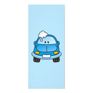 "Blue car with bubbles 4"" x 9.25"" invitation card"