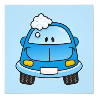 """Blue car with bubbles 5.25"""" square invitation card"""
