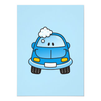 "Blue car with bubbles 5.5"" x 7.5"" invitation card"