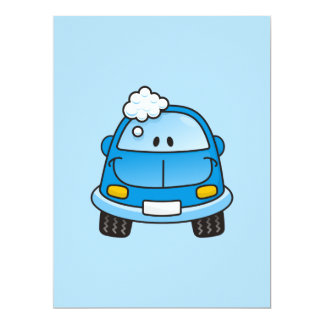 "Blue car with bubbles 6.5"" x 8.75"" invitation card"