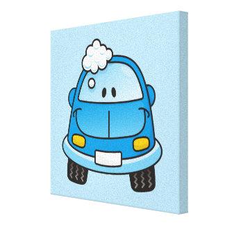 Blue car with bubbles canvas print