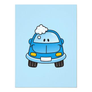 "Blue car with bubbles 6.5"" x 8.75"" invitation card"