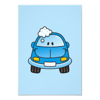 Blue car with bubbles personalized invitation