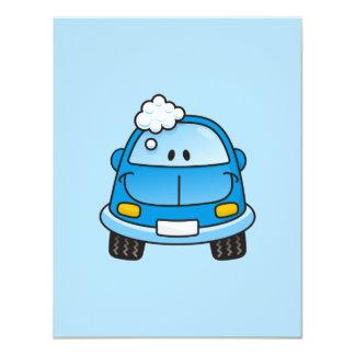 "Blue car with bubbles 4.25"" x 5.5"" invitation card"