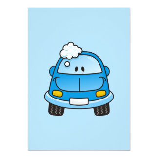 Blue car with bubbles customized invitation card