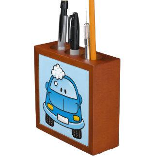 Blue car with bubbles pencil holder