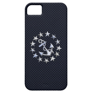 Blue Carbon Nautical Chrome Like Yacht Flag Print iPhone 5 Case