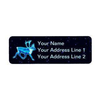 Blue Caribou (Reindeer) Return Address Label