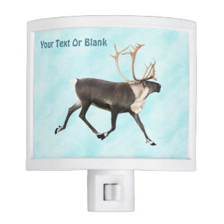Blue Caribou (Reindeer) On Snow Night Light