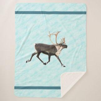 Blue Caribou (Reindeer) On Snow Sherpa Blanket