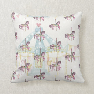 Blue Carousel with Horses Pillow