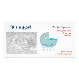 Blue Carriage Baby Announcement Photo Cards